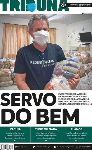 """Padre Parron foi chamado de """"padrinho"""" da Vila Torres na reportagem (Imagem: capa do Jornal Tribuna do Paraná)"""