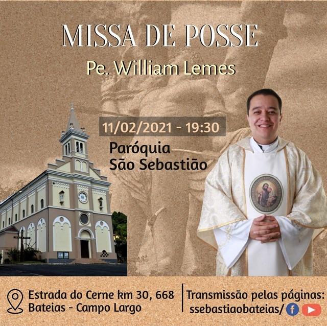 A posse de Padre William na Paróquia São Sebastião será na missa do dia 11 de fevereiro, às 19h30. (Imagem: Divulgação)