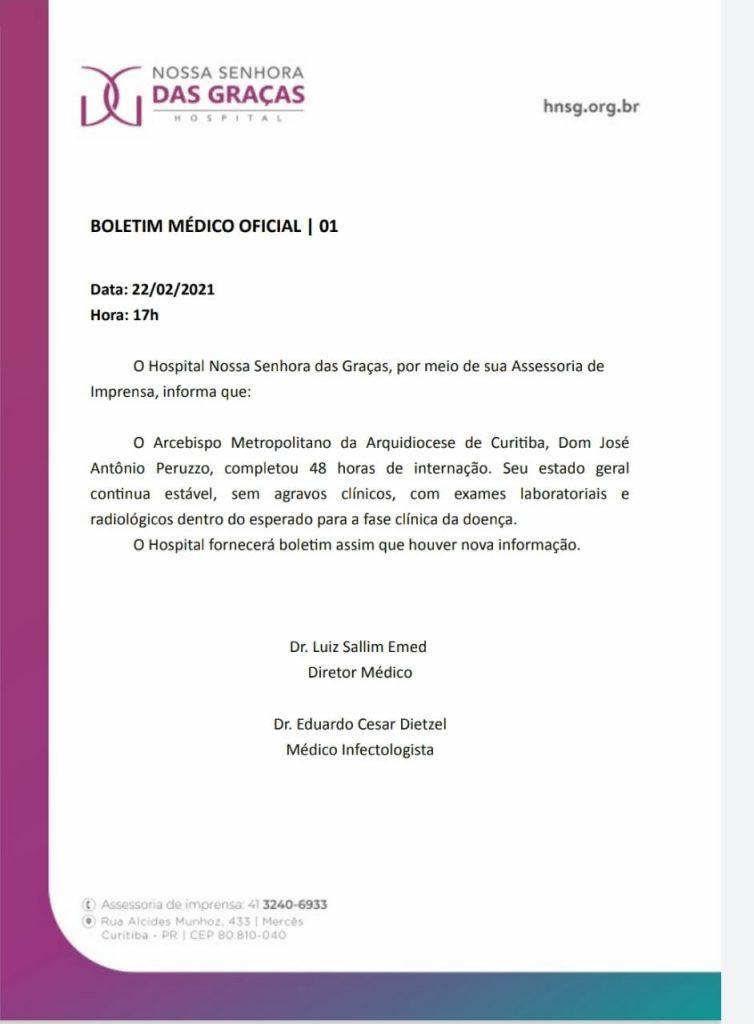 Íntergra do Boletim Médico emitido pelo HNSG na tarde desta segunda-feira (Imagem: HNSG)