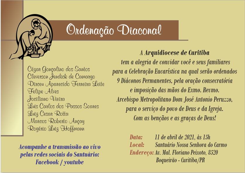 A ordenação será no próximo domingo, 17 de abril, e será transmitida também pelo Facebook da Arquidiocese (Imagem: Divulgação)