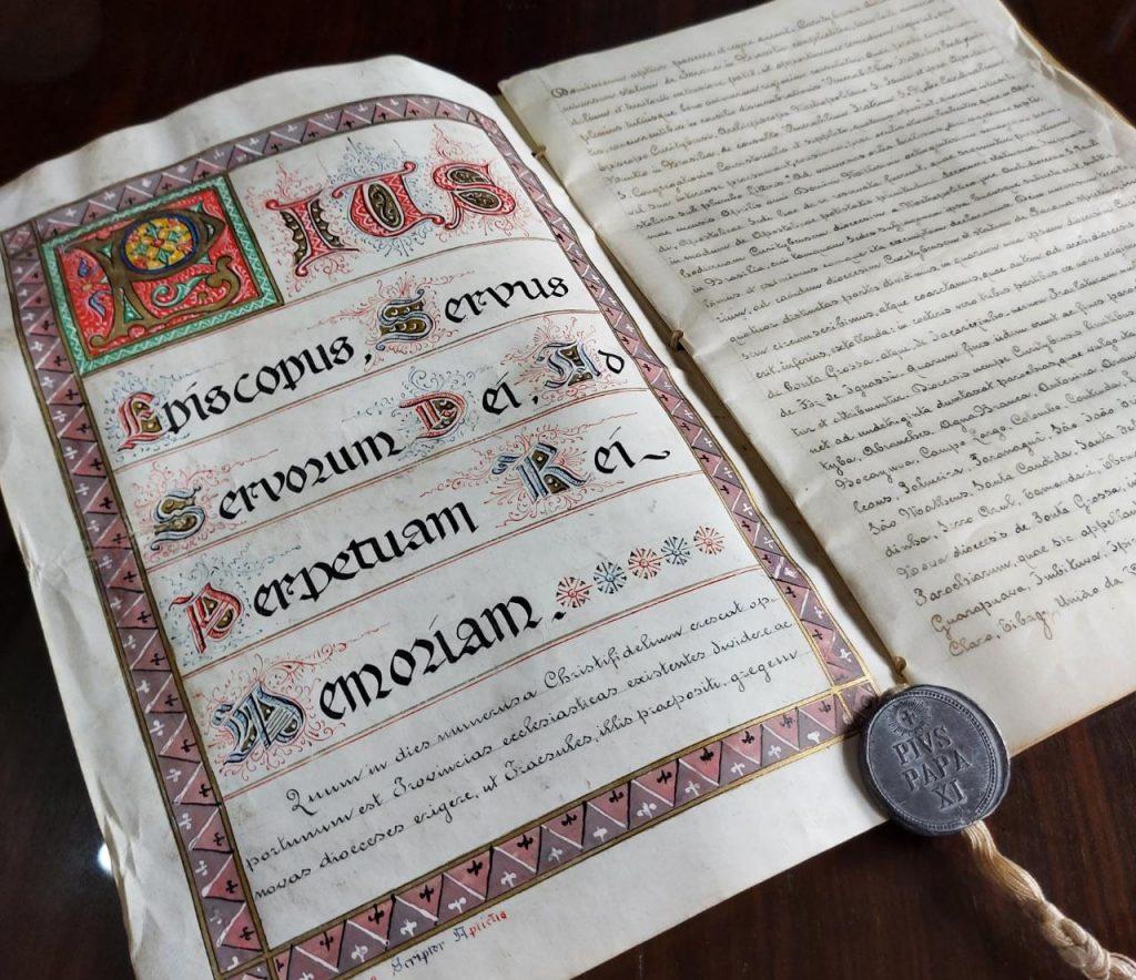 A Província Eclesiástica completa 95 anos nesta segunda-feira (Imagem: Bula