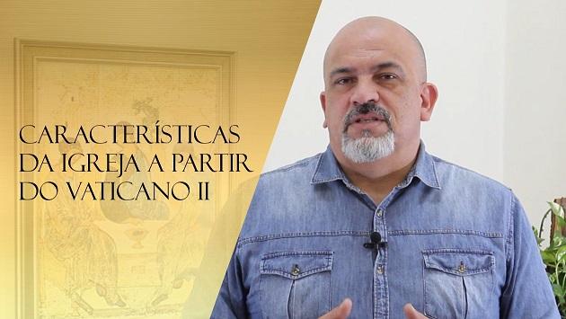 Prof. César Leandro aborda as características da Igreja no período pós-Concílio Vaticano II (Imagem: Catequese Curitiba/Youtube)