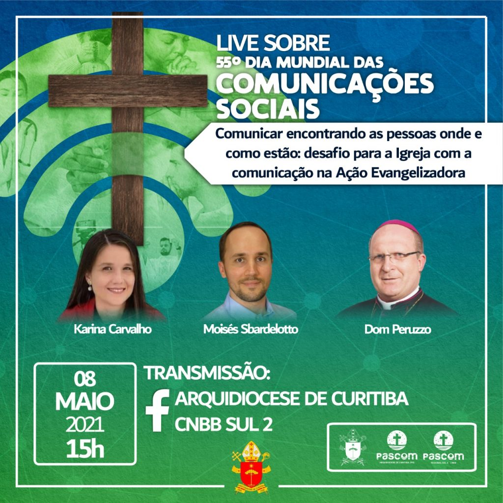 A live será transmitida pelas redes sociais da Arquidiocese e da CNBB Sul 2 (Imagem: Divulgação)
